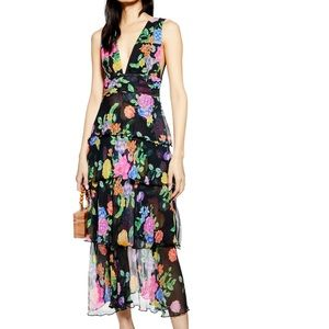 Topshop Freida Floral Pinafore Maxi Dress